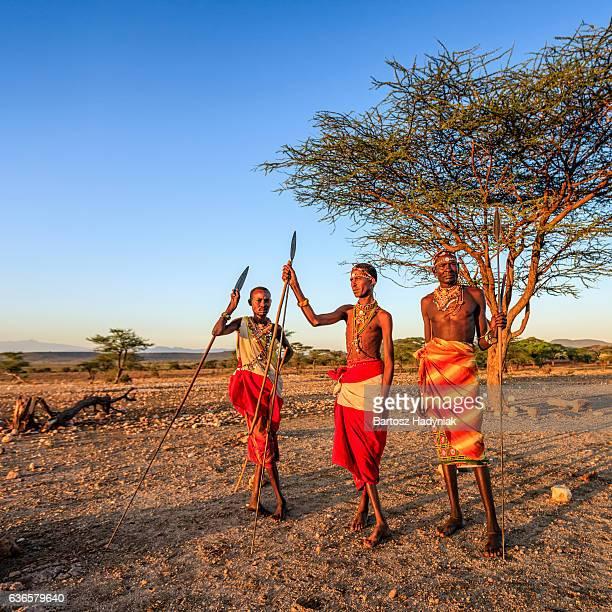 African warriors from Samburu tribe, central Kenya, East Africa
