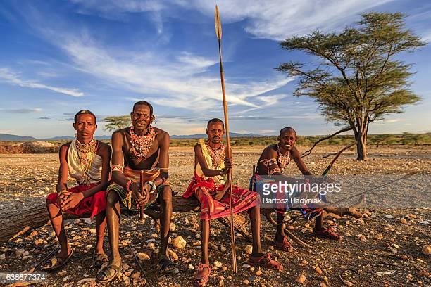 african warriors from samburu tribe, central kenya, east africa - warrior person stock photos and pictures