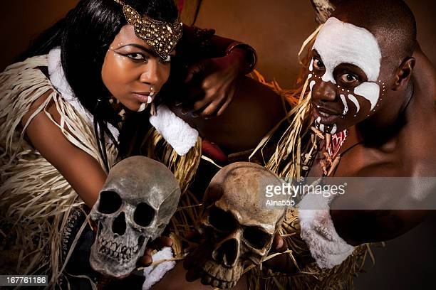 african witch doctor and healer - african witch doctor stock photos and pictures