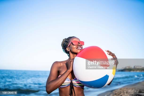 African woman at beach