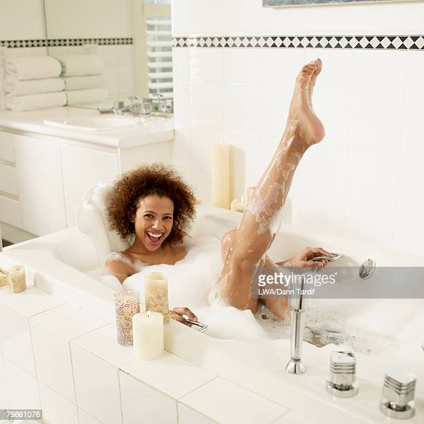 African woman in bubble bath