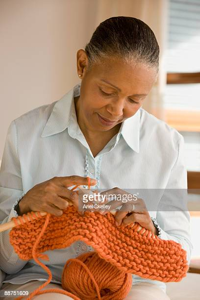 african woman knitting - crochet stock pictures, royalty-free photos & images