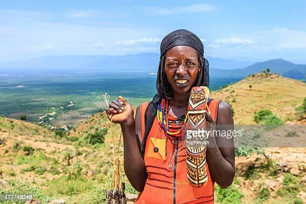 Afrikanische Frau souvenirs in Omo-Tal, Osten und Afrika