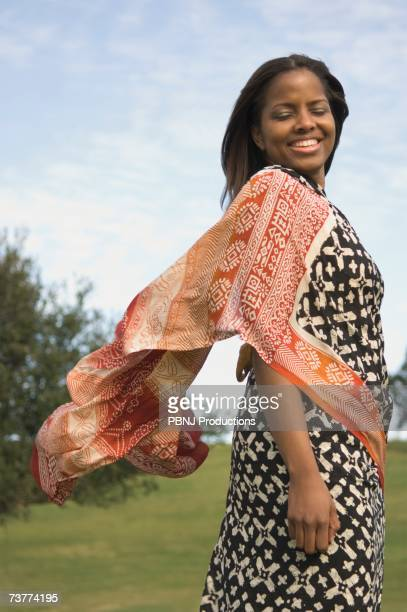 African woman wearing dress outdoors