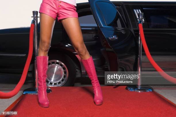 African woman wearing hotpants on red carpet