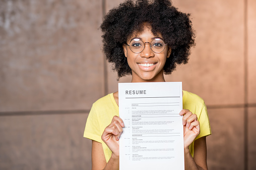 African woman with resume 644186760