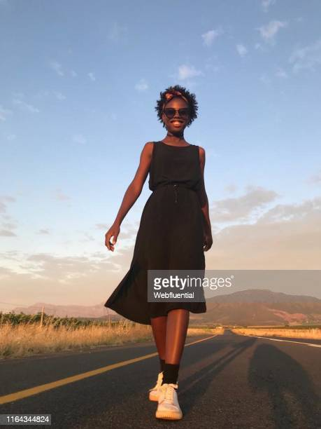 African women walking on the road