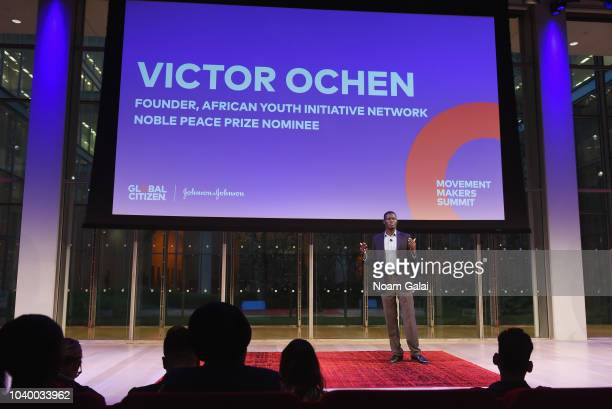 Ladan Manteghi Jamie Margolin and Afroz Shah speak onstage during Global Citizen Movement Makers at The Times Center on September 25 2018 in New York...