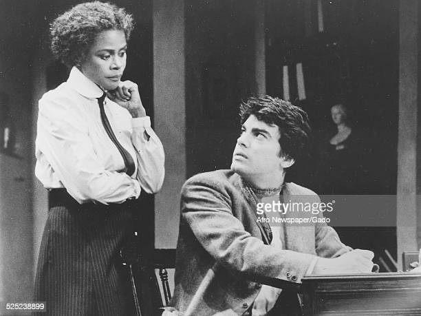 AfricanAmerican actress Cicely Tyson and Peter Gallagher acting in the play The Corn is Green 1974