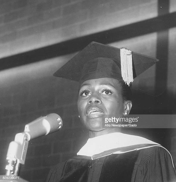 AfricanAmerican actress Cicely Tyson delivering a speech June 1974