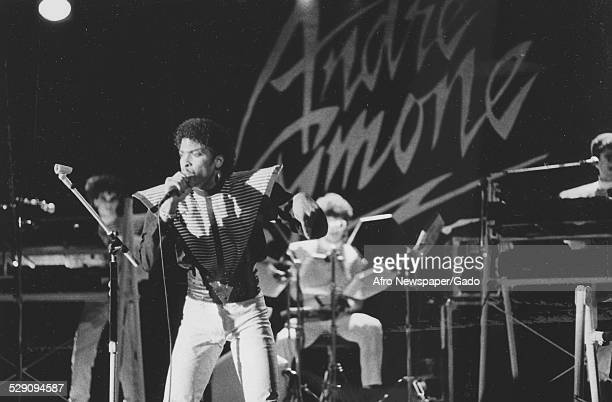 AfricanAmerican bassist songwriter and record producer Andre Cymone performing on stage Washington DC 1980