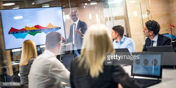 african-american businessman giving presentation to colleagues - projection screen stock photos and pictures