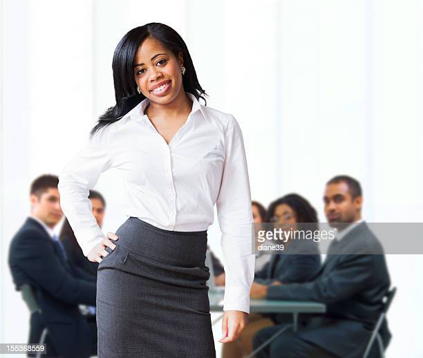 African-American businesswoman in a conference room