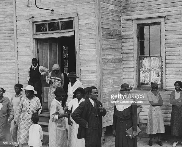 AfricanAmerican citizens exit a church on Sunday in Little Rock Arkansas 1920 From the New York Public Library