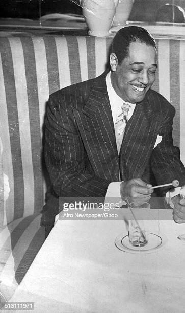 African-American composer, pianist, bandleader and Jazz musician Duke Ellington at a Jazz club, New York City, New York, 1948.