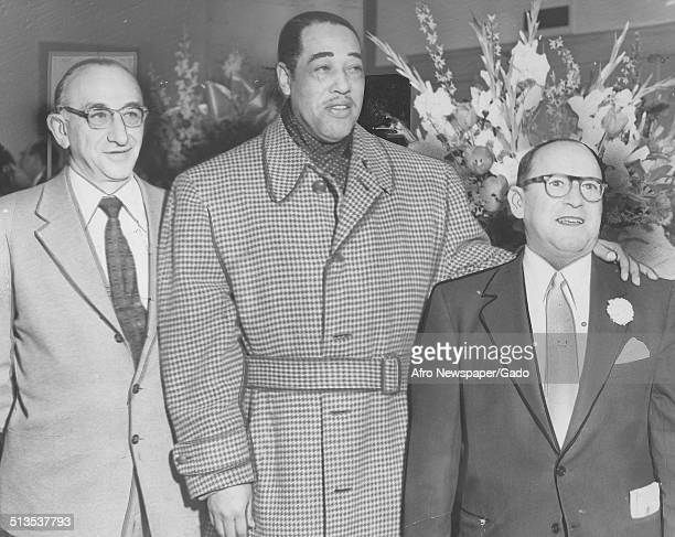 African-American composer, pianist, bandleader and Jazz musician Duke Ellington during the opening of Regal Clothing Store, March 7, 1953.