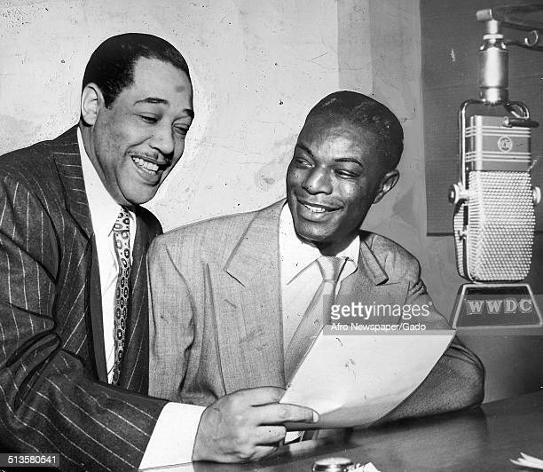 AfricanAmerican composer pianist bandleader and Jazz musician Duke Ellington at night during a radio show Washington DC 1960