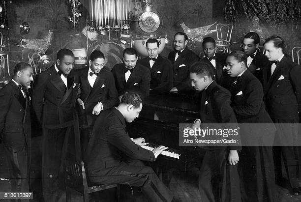 AfricanAmerican composer pianist bandleader and Jazz musician Duke Ellington playing the piano 1945