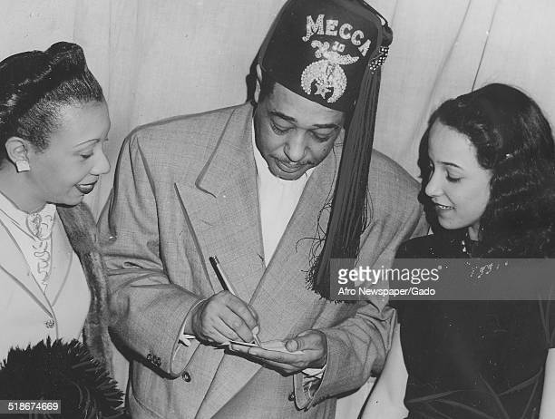 African-American composer, pianist, bandleader and Jazz musician Duke Ellington and members of the Ancient Arabic Order of the Nobles of the Mystic...