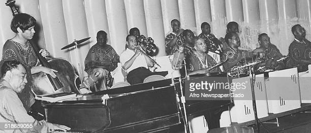 AfricanAmerican composer pianist bandleader and Jazz musician Duke Ellington and a Jazz orchestra July 21 1969