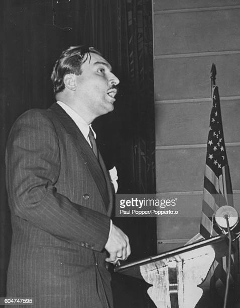 AfricanAmerican congressman Adam Clayton Powell Jr addresses Columbia University Committee for Permanent Peace at the campus in New York March 18th...