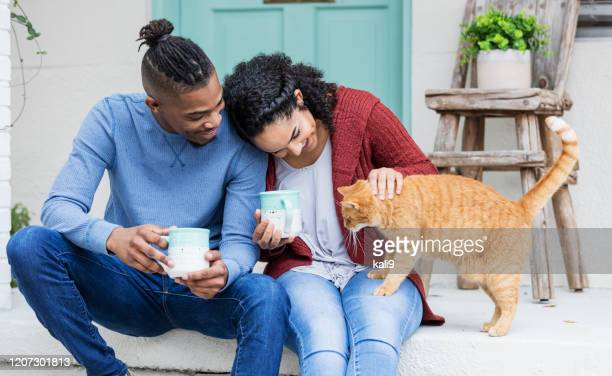 african-american couple on porch steps, petting cat - pets stock pictures, royalty-free photos & images