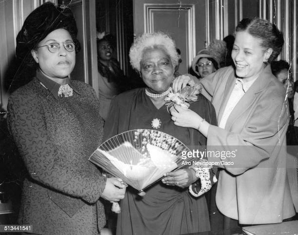 AfricanAmerican educator and Civil Rights activist Mary McLeod Bethune and women during a National Council of Negro Women event 1945