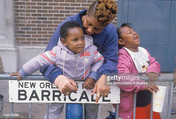 AfricanAmerican family at the Mardis Gras parade New Orleans LA