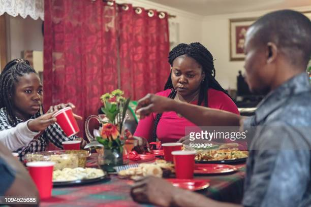 African-american family celebrating Twelfth night