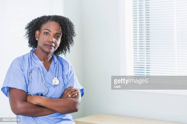 African-American female doctor or nurse