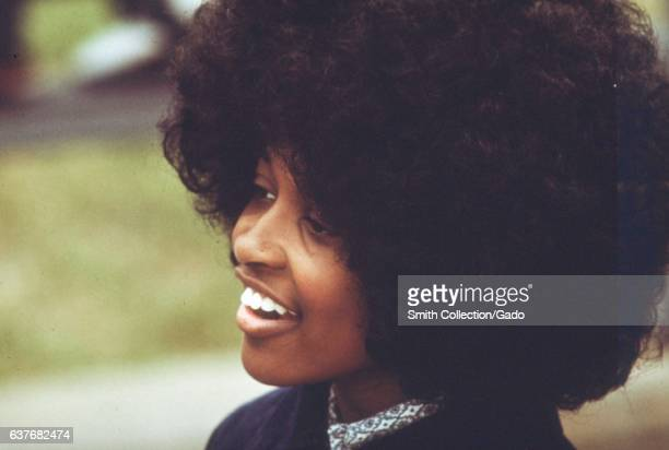 A AfricanAmerican female student with large afro hair at the Westinghouse Industrial Vocation School on Chicago's west side Chicago Illinois May 1973...