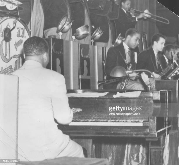 AfricanAmerican jazz musician Count Basie and a Jazz orchestra December 17 1938