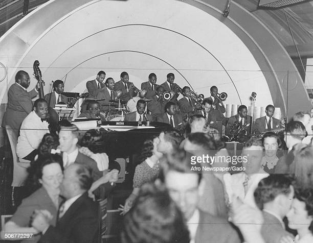 AfricanAmerican jazz musician Count Basie and a Jazz orchestra during a concert July 19 1941