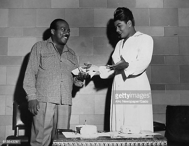 AfricanAmerican jazz musician Count Basie and AfricanAmerican actress and singer Pearl Bailey celebrating his 40th birthday 1944