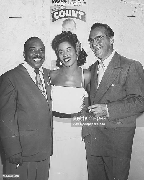 AfricanAmerican jazz musician Count Basie Benny Goodman and singer Sarah Vaughan October 9 1948