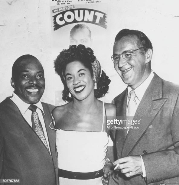 AfricanAmerican jazz musician Count Basie singer Sarah Vaughan and Benny Goodman New York City New York October 9 1948