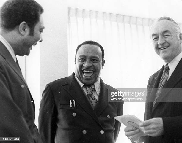 AfricanAmerican jazz vibraphonist pianist percussionist bandleader and actor Lionel Hampton men and Paul Jones during an election Washington DC 1954