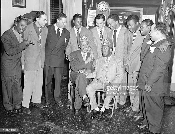 AfricanAmerican jazz vibraphonist pianist percussionist bandleader and actor Lionel Hampton and members of the Elks fraternal organization June 23...