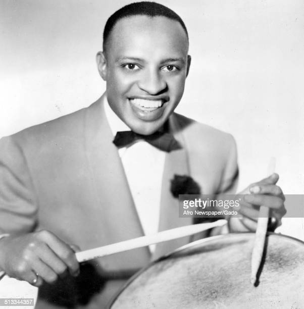 AfricanAmerican jazz vibraphonist pianist percussionist bandleader and actor Lionel Hampton December 1945