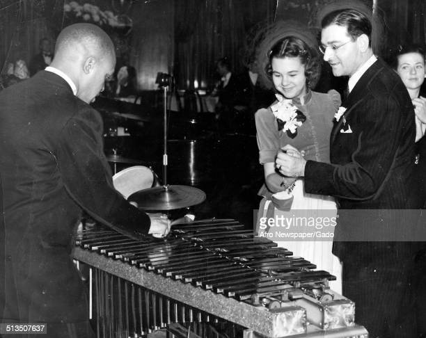 African-American jazz vibraphonist, pianist, percussionist, bandleader and actor Lionel Hampton and Jane Withers, New York City, New York, 1957.