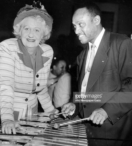 AfricanAmerican jazz vibraphonist pianist percussionist bandleader and actor Lionel Hampton and Fanny Wolff New York City New York June 14 1952