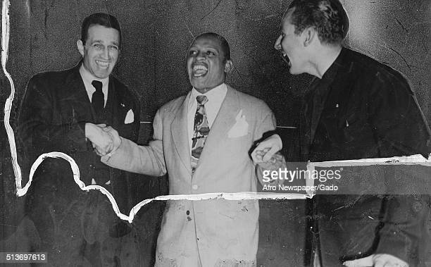 AfricanAmerican jazz vibraphonist pianist percussionist bandleader and actor Lionel Hampton at Tin Pan Alley New York City New York 1957