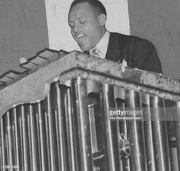 AfricanAmerican jazz vibraphonist pianist percussionist bandleader and actor Lionel Hampton playing the vibraphone 1957