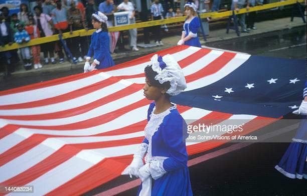 AfricanAmerican Marcher in American Bicentennial Parade Philadelphia Pennsylvania