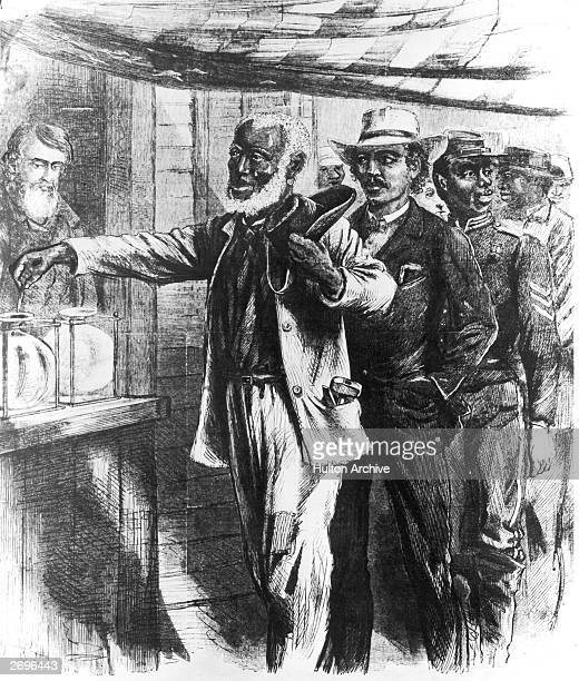 AfricanAmerican men voting in a state election in the south during reconstruction in an 1867 illustration from Harper's Weekly That year in the...