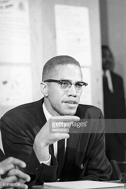 AfricanAmerican Muslim minister and civil rights activist Malcolm X giving a press conference at the offices of the Group on Advanced Leadership in...
