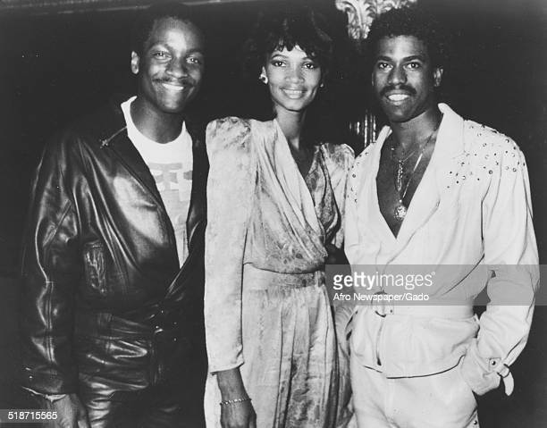 AfricanAmerican rapper and record producer Kurtis Blow Donnie Simpson and wife Washington DC 1980