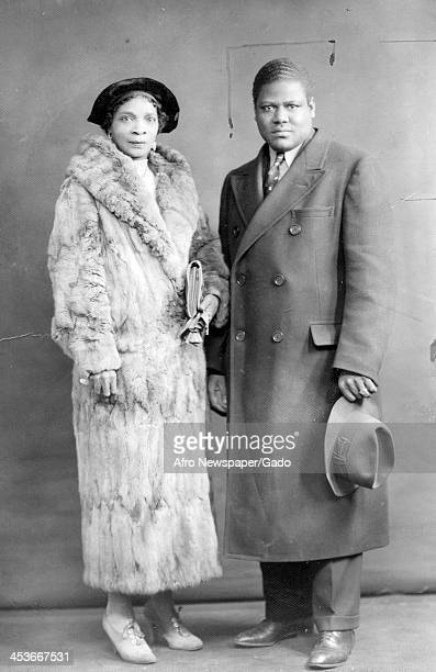 AfricanAmerican religious and labor leader Sufi Abdul Hamid with his wife Harlem mob boss Stephanie SaintClair in formal dress January 23 1938