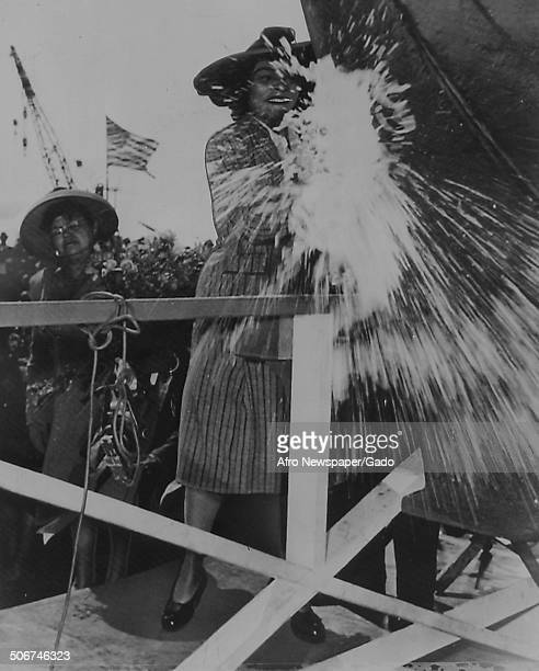 AfricanAmerican singer Marian Anderson and Dorothy Height christening a Liberty Ship 1940