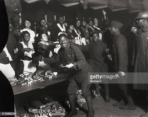 2/17/1919New York NY Men from the 369th Colored Infantry are served chicken dinner at the 71st Regiment Armory after the parade